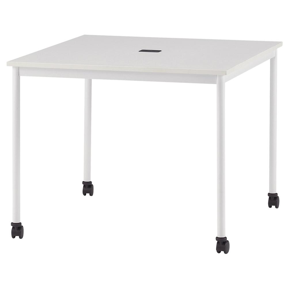 オフィス用キャスター付きミーティングテーブル RMシリーズ W900 D900 H720) ホワイト