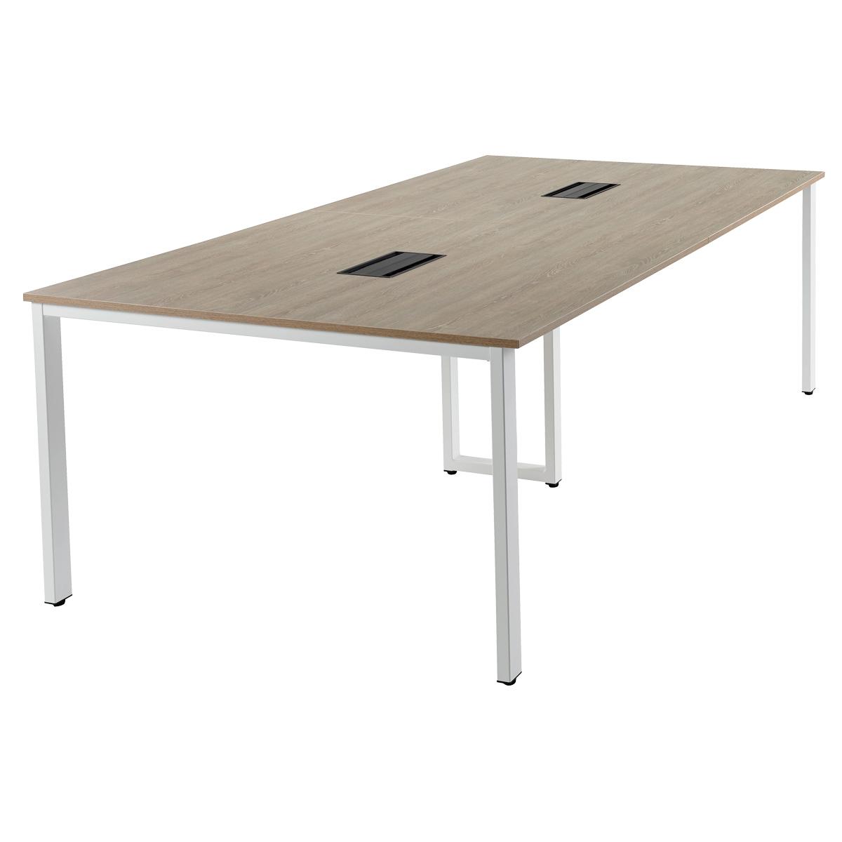 オフィス用会議テーブル 基本1+増連1セット REVシリーズ W2400 D1200 H720  ナチュラル