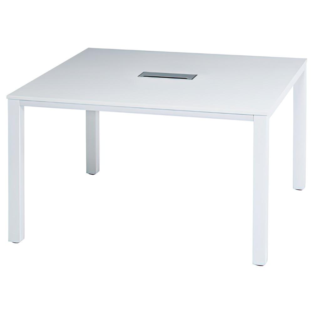 ミーティングテーブル ホワイトフレーム W1200×D1200×H700mm 会議机 配線ボックス付き ホワイト 会議テーブル オフィス家具