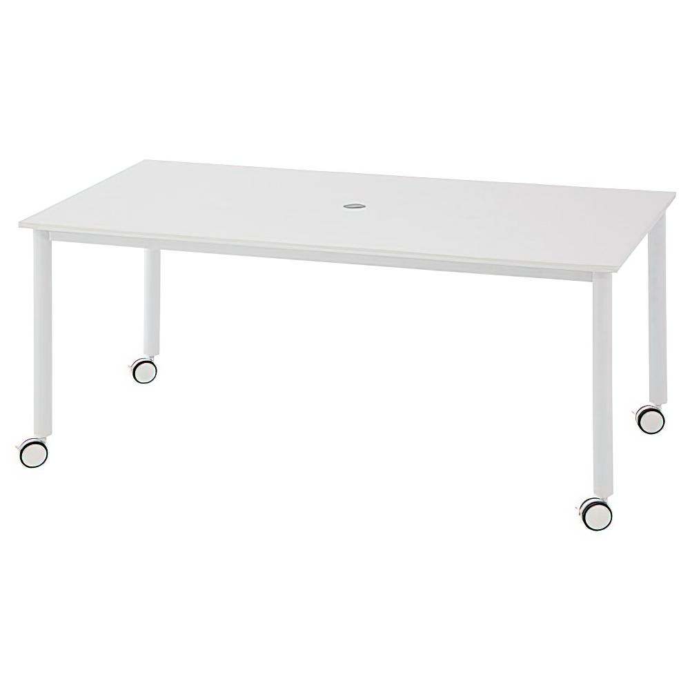 角型ホワイト脚キャスターテーブル W1600 D800 H700 ホワイト テーブル ミーティングテーブル RYシリーズ オフィス家具 オフィスチェア キャップ レイアウト フ