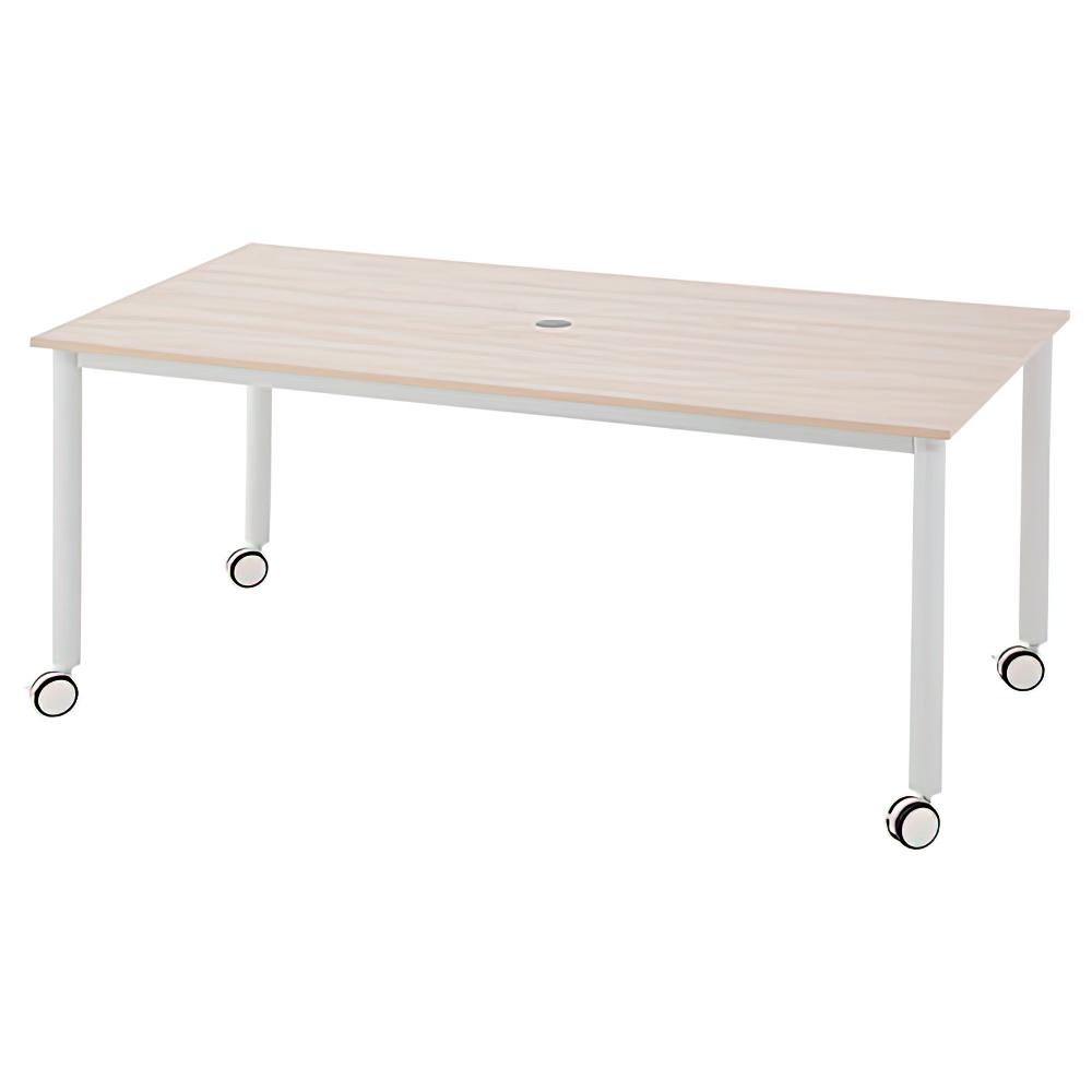 角型ホワイト脚キャスターテーブル W1600 D800 H700 ナチュラル テーブル ミーティングテーブル RYシリーズ オフィス家具 オフィスチェア キャップ レイアウト