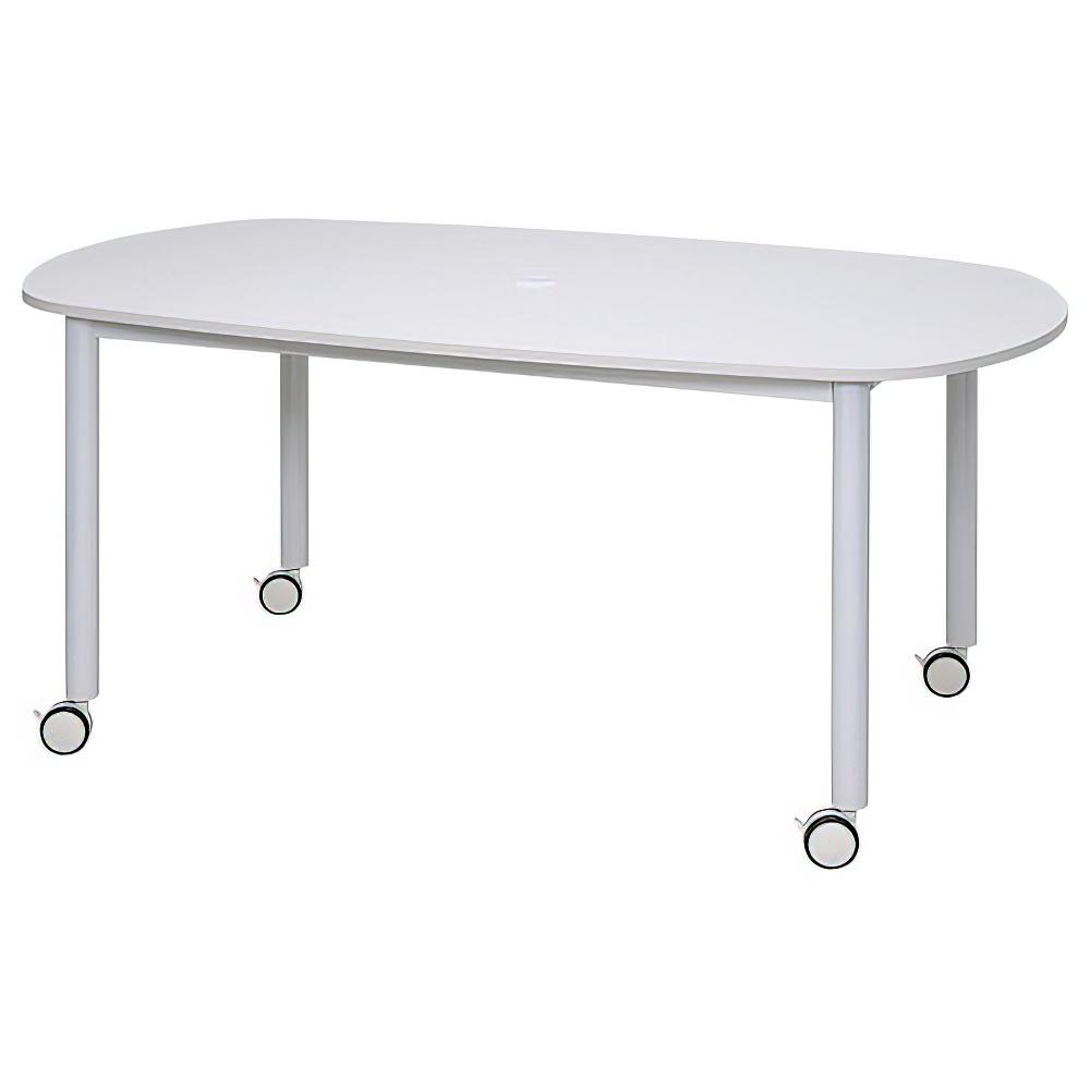 楕円ホワイト脚キャスターテーブル W1600 D910 H700 ホワイト テーブル ミーティングテーブル RYシリーズ オフィス家具 オフィスチェア レイアウト キャップ フ