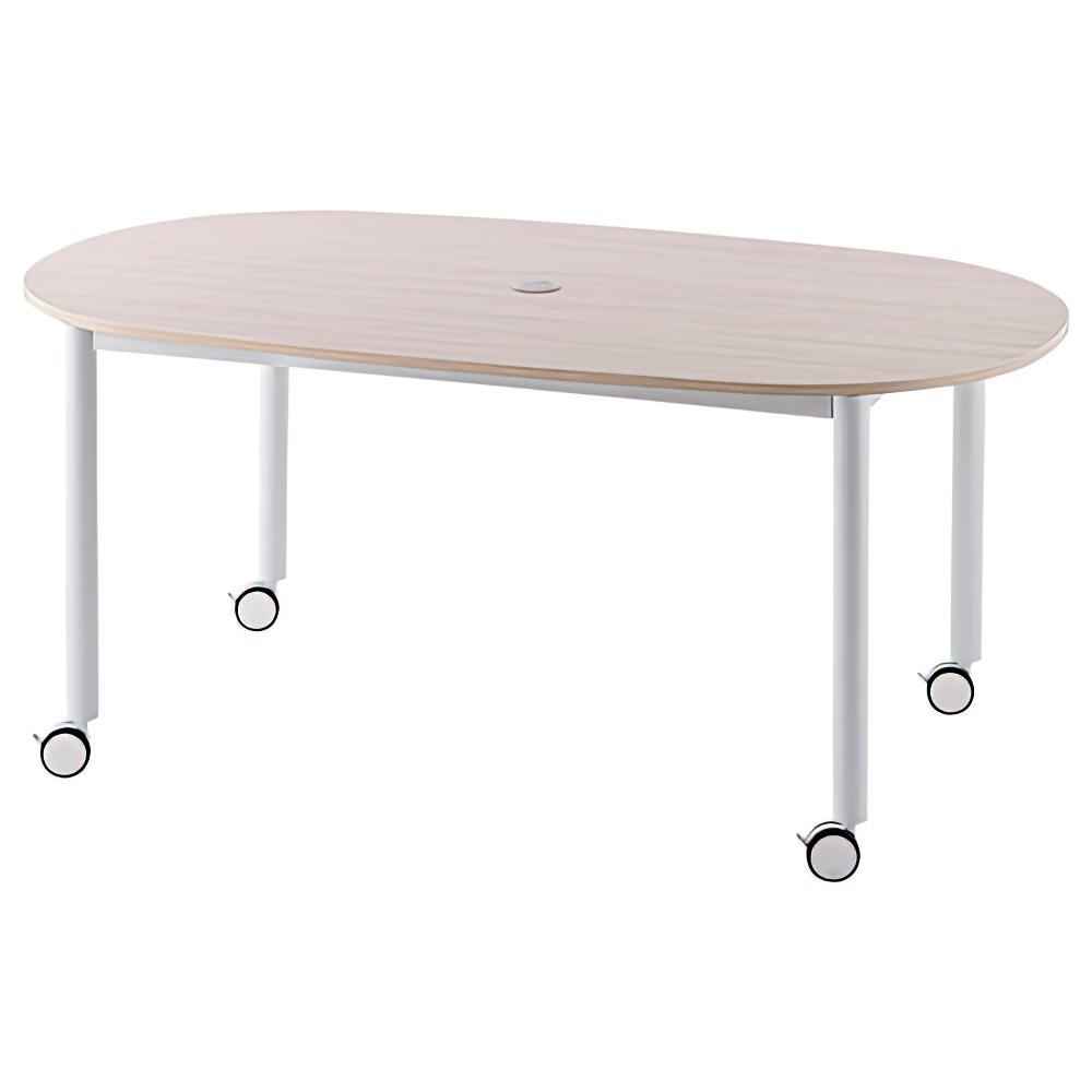 楕円ホワイト脚キャスターテーブル W1600 D910 H700 ナチュラル テーブル ミーティングテーブル RYシリーズ オフィス家具 オフィスチェア レイアウト キャップ