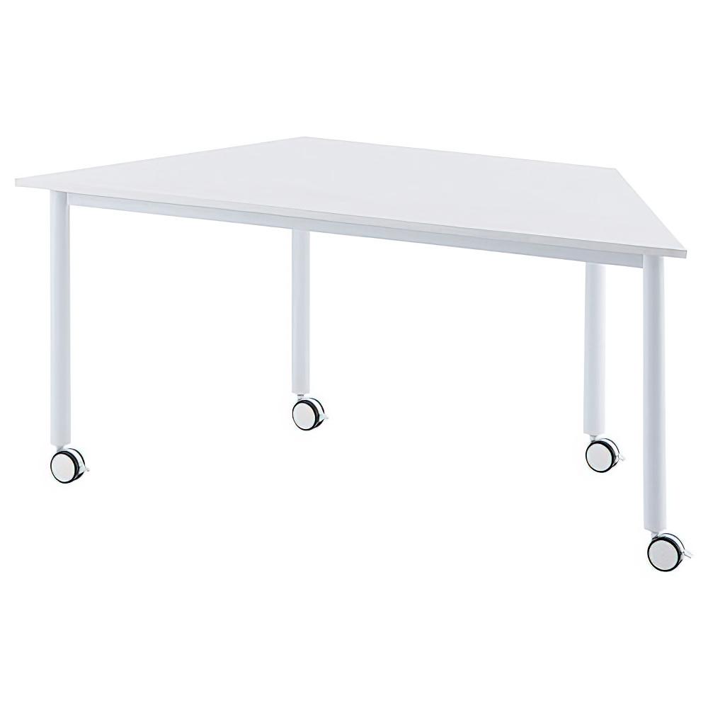 オフィス用台形ホワイト脚キャスターテーブル W1600 D693 H700  ホワイト