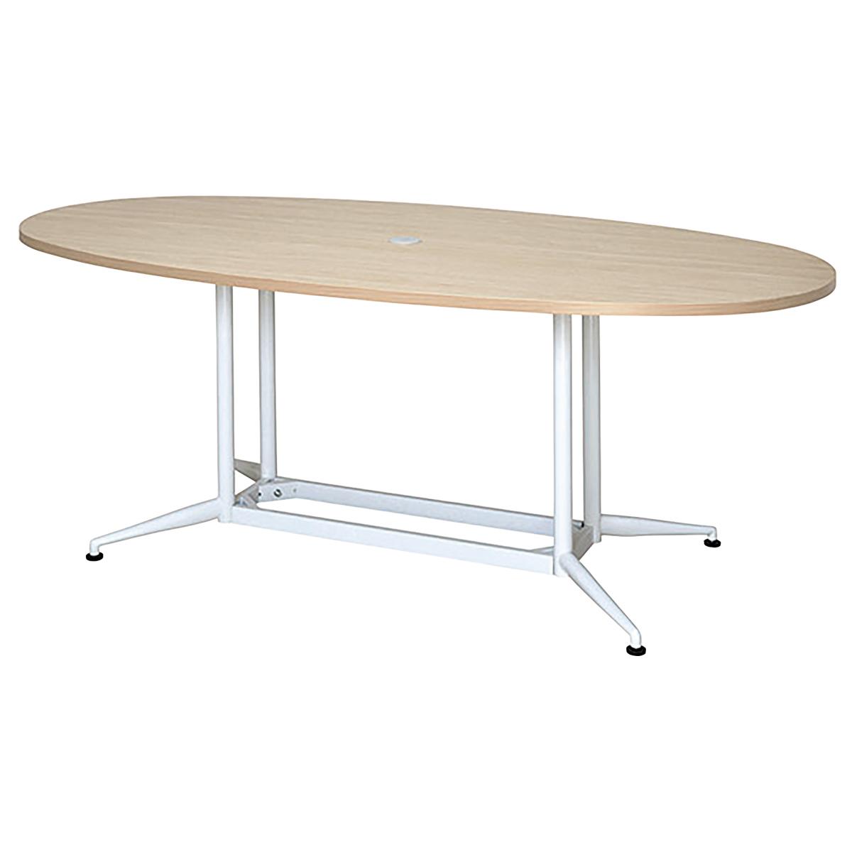 OAオーバルテーブル W1800 D900 H700 ナチュラル テーブル ミーティングテーブル RYシリーズ オフィス家具 オフィステーブル 会議用テーブル パソコン キャップ