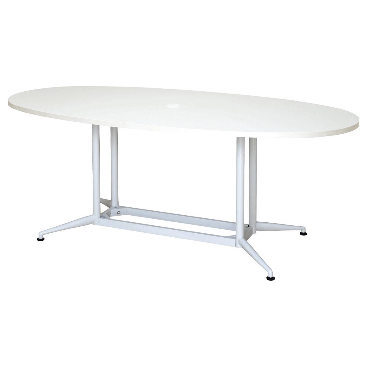 OAオーバルテーブル W1800 D900 H700 ホワイト テーブル ミーティングテーブル RYシリーズ オフィス家具 オフィステーブル 会議用テーブル パソコン キャップ プ