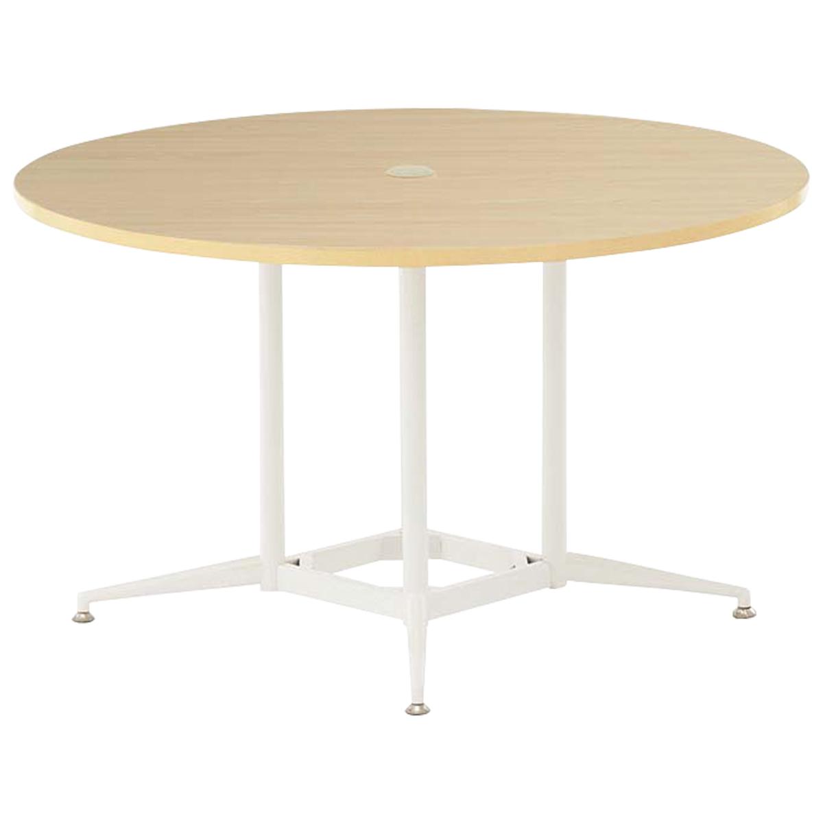 OAラウンドテーブル W1200 D1200 H700 ナチュラル テーブル ミーティングテーブル RYシリーズ オフィス家具 オフィステーブル 会議用テーブル パソコン キャップ