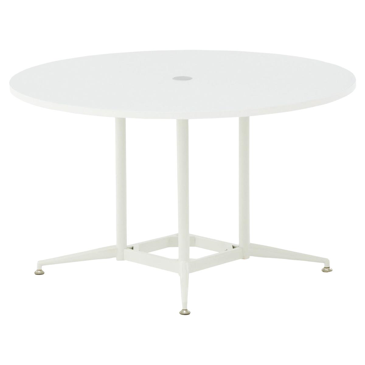 OAラウンドテーブル W1200 D1200 H700 ホワイト テーブル ミーティングテーブル RYシリーズ オフィス家具 オフィステーブル 会議用テーブル パソコン キャップ