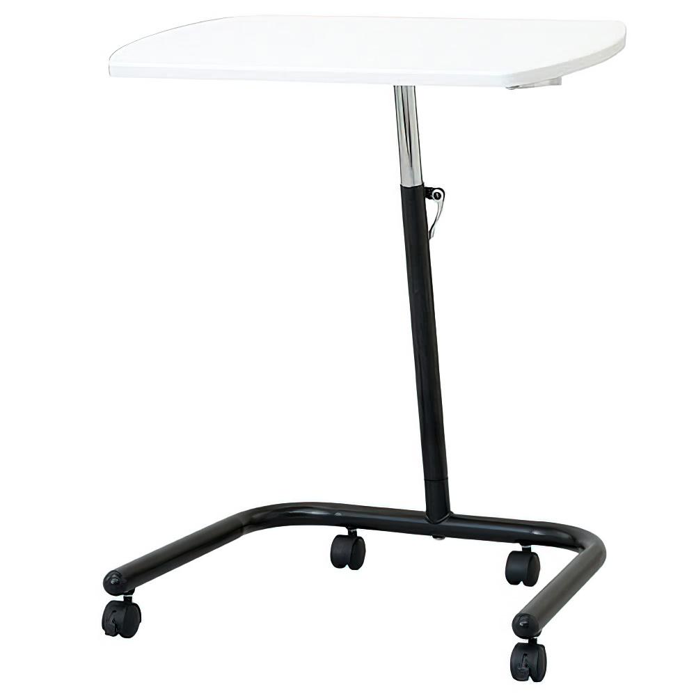 高さ可変キャスターテーブル W600×D400×H575-810mm ホワイト ワークテーブル コンパクトテーブル 作業台 オフィス家具