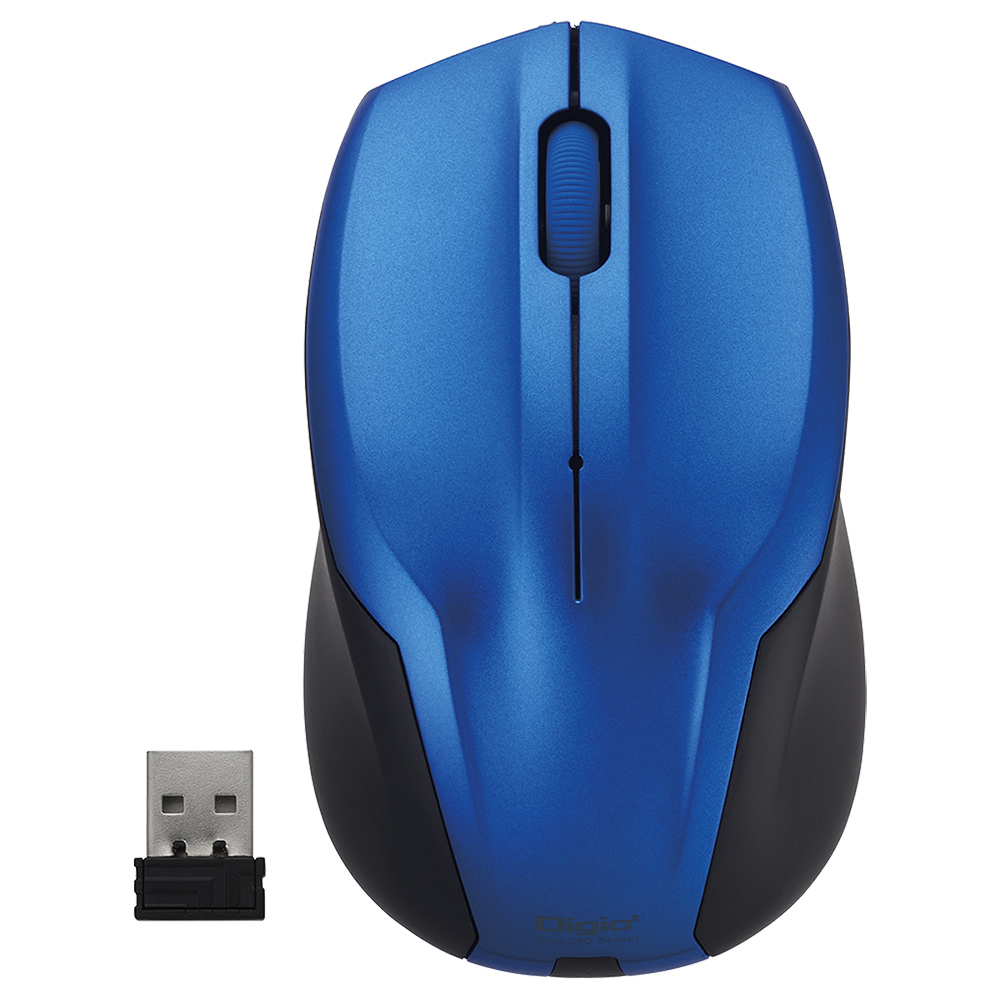 オフィス用無線静音3ボタンBlueLEDマウス W62 D103 H38  ブルー