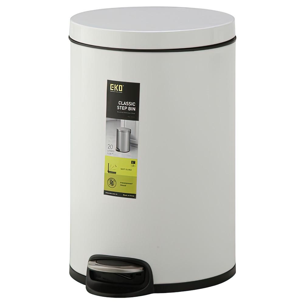 クラシックステップビン 20L ホワイト W290×D290×H440mm ダストボックス ゴミ箱 ペダル式 オフィス家具