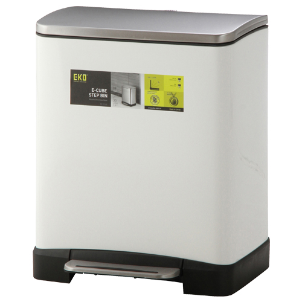 キューブステップビン 分別タイプ 10L+9L ホワイト W366×D320×H445mm ダストボックス ゴミ箱 オフィス家具