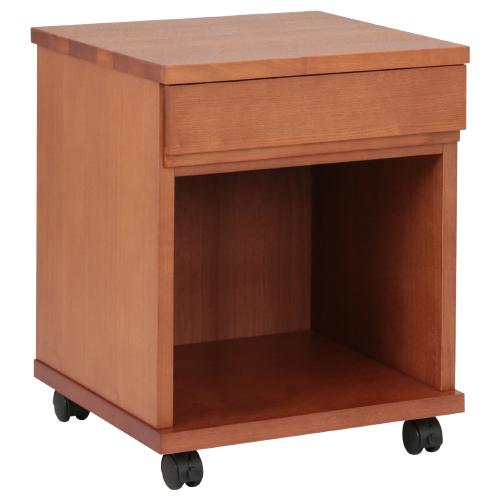 N型上段引出付きリビングワゴン W400×D400×H495mm ブラウン ワゴン ナイトテーブル キャビネット 木目 大川家具 オフィス家具