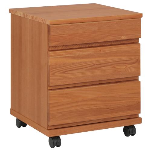 N型3段引出付きリビングワゴン W400×D400×H495mm ブラウン ワゴン ナイトテーブル キャビネット 木目 大川家具 オフィス家具