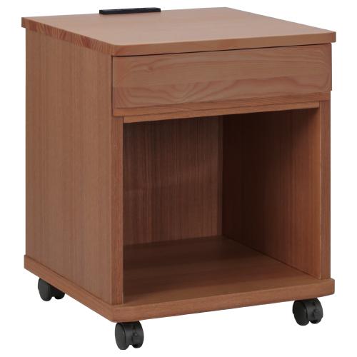 E型上段引出付きリビングワゴン W400×D400×H495mm ウォールナット ナイトテーブル キャビネット 木目 大川家具 オフィス家具