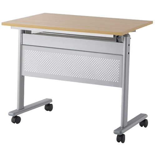 IRIS フライングテーブル 幕板付き W750×D450×H700mm 会議机 ナチュラル スタックテーブル 跳上式 会議テーブル オフィス家具 アウトレット