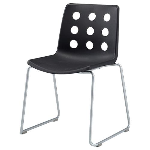 IRIS R脚プリチェア W534×D506×H773mm オフィスチェア ブラック 会議椅子 ミーティングチェア スタッキングチェア オフィス家具 アウトレット