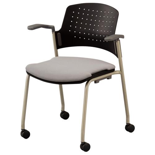 キャスター肘付きタイプ W623×D519×H778mm オフィスチェア グレー 会議椅子 ミーティングチェア スタックチェア オフィス家具 アウトレット