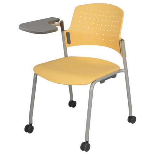 キャスターメモ台付きタイプ W623×D582×H778mm オフィスチェア イエロー 会議椅子 ミーティングチェア スタックチェア オフィス家具 アウトレット