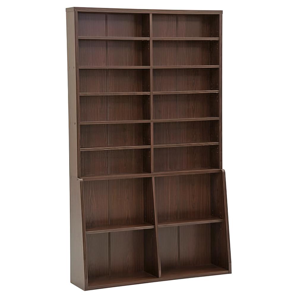 木製ロング書棚 W1200×D295×H2000mm 書棚 本棚 木製収納棚 ウッドシェルフ ウッドラック ダークブラウン オフィス家具