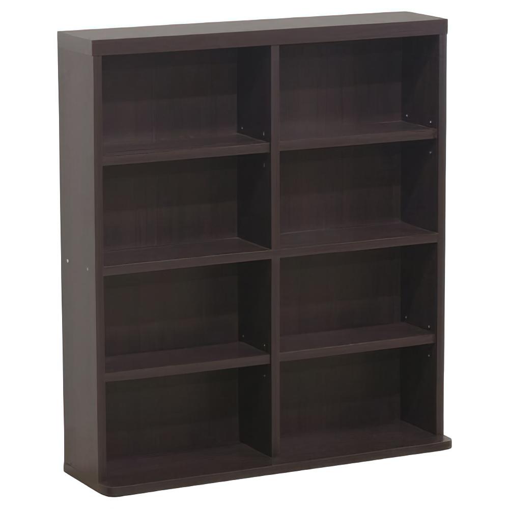 ブックシェルフ W800×D220×H900mm 書棚 本棚 木製収納棚 ウッドシェルフ ウッドラック ダークブラウン オフィス家具