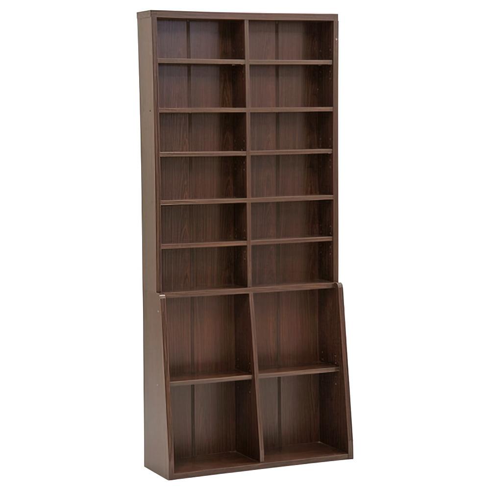 木製ロング書棚 W900×D295×H2000mm 書棚 本棚 木製収納棚 ウッドシェルフ ウッドラック ダークブラウン オフィス家具