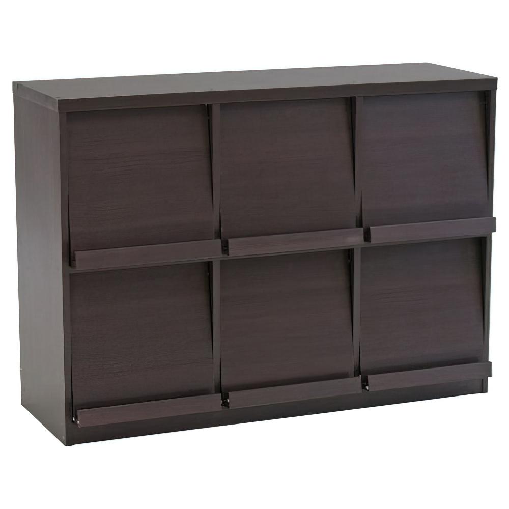 ディスプレイ3列ラック W1190×D390×H900mm 用途別収納棚 木製収納棚 ウッドシェルフ ウッドラック ダークブラウン オフィス家具
