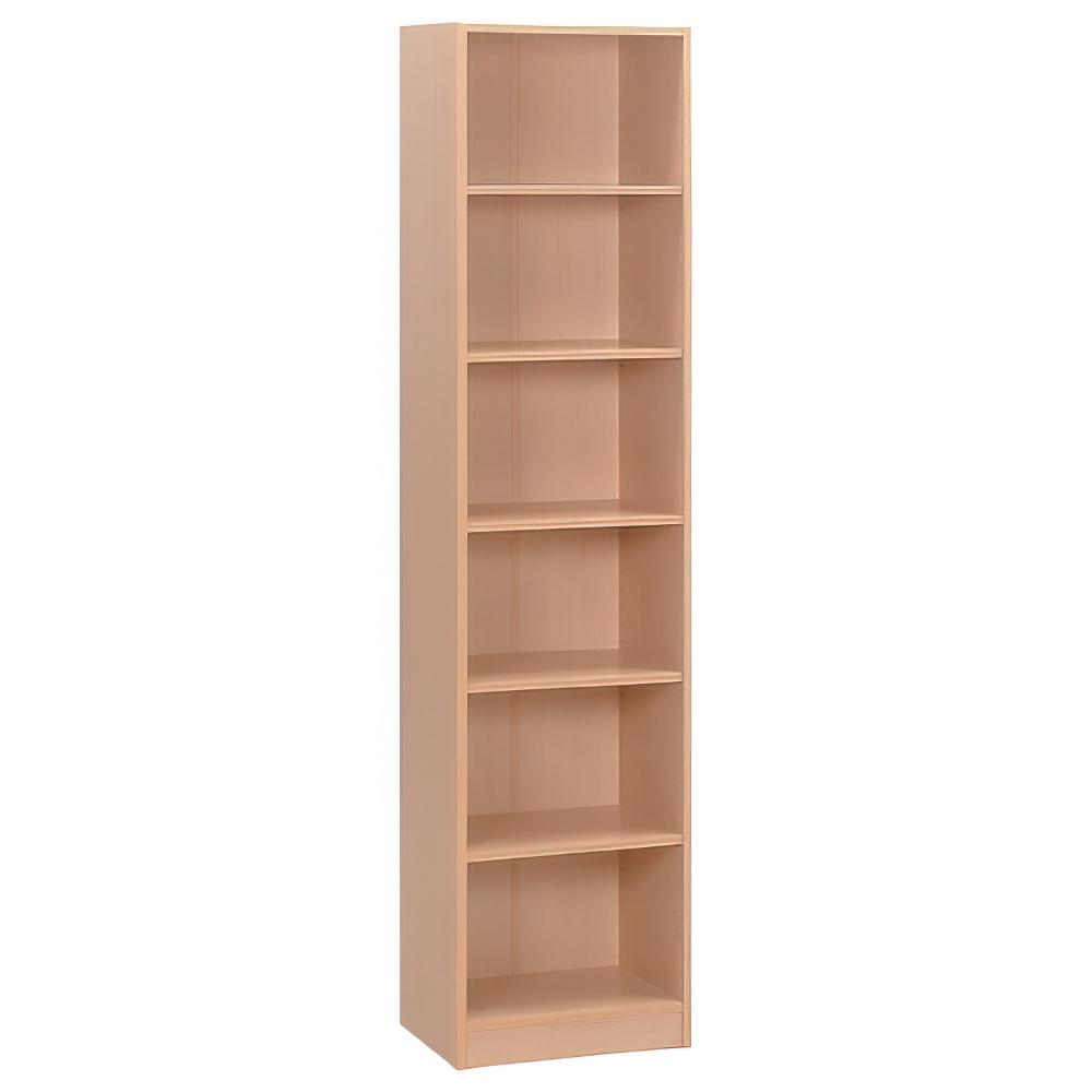 多目的1列6段スリム棚 W440×D295×H1800mm メープル 多目的収納棚 木製収納棚 ウッドシェルフ ウッドラック オフィス家具