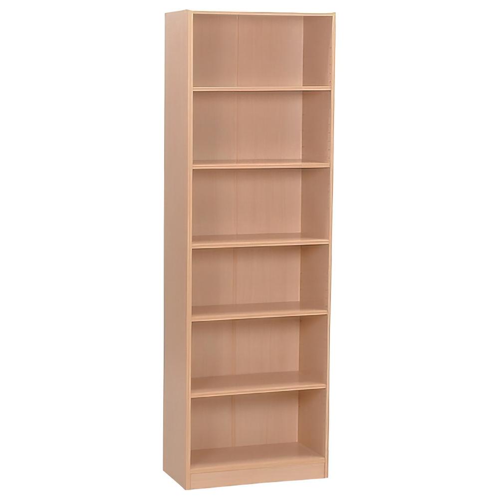 多目的1列6段ワイド棚 W590×D295×H1800mm メープル 多目的収納棚 木製収納棚 ウッドシェルフ ウッドラック オフィス家具