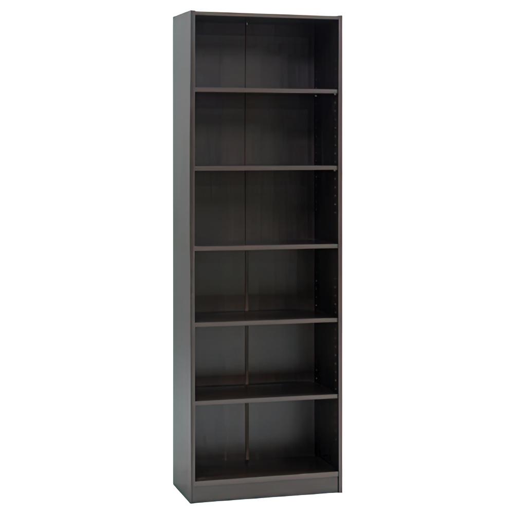 多目的1列6段ワイド棚 W590×D295×H1800mm ダークブラウン 多目的収納棚 木製収納棚 ウッドシェルフ ウッドラック オフィス家具