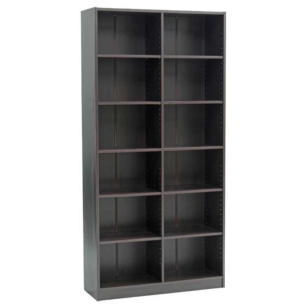多目的2列6段ワイド棚 W880×D295×H1800mm ダークブラウン 多目的収納棚 木製収納棚 ウッドシェルフ ウッドラック オフィス家具