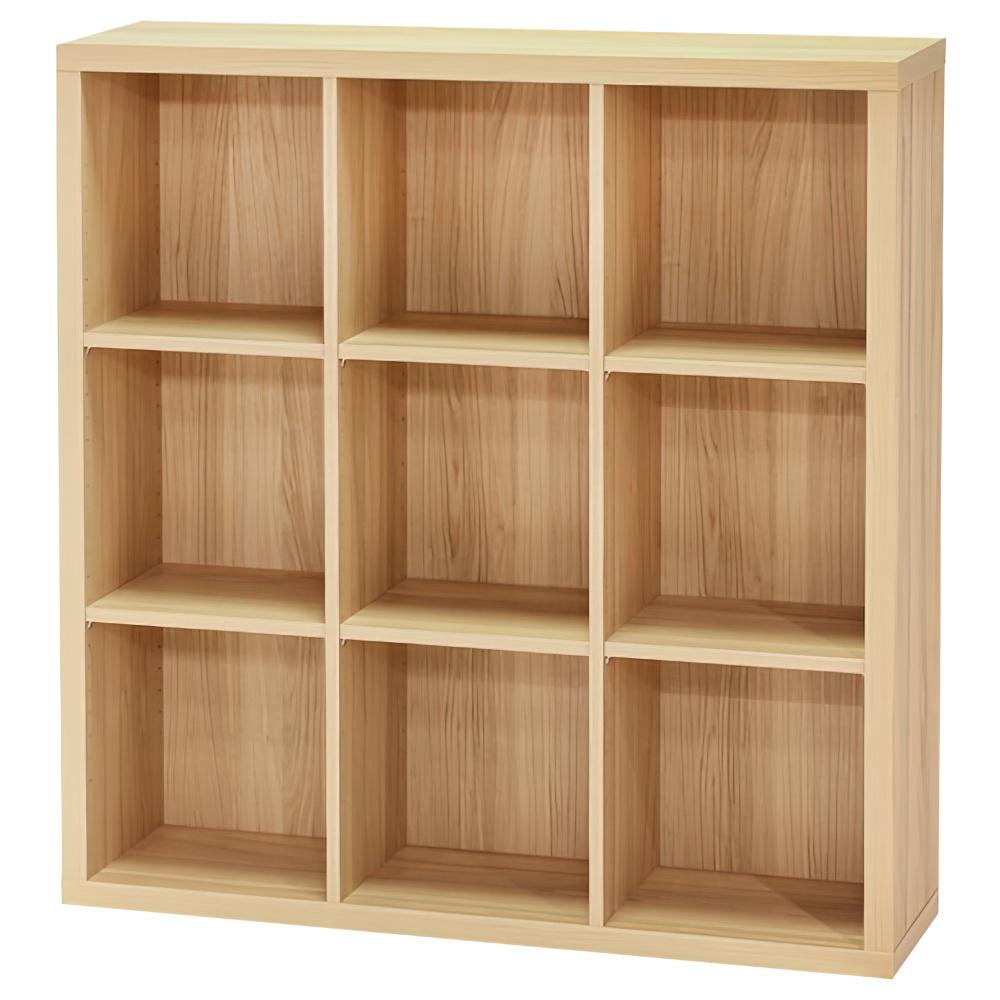 木製3列3段フリーラック SEPシリーズ W1100×D283×H1134mm 書棚 本棚 木製収納棚 ナチュラル オープンラック オフィス家具