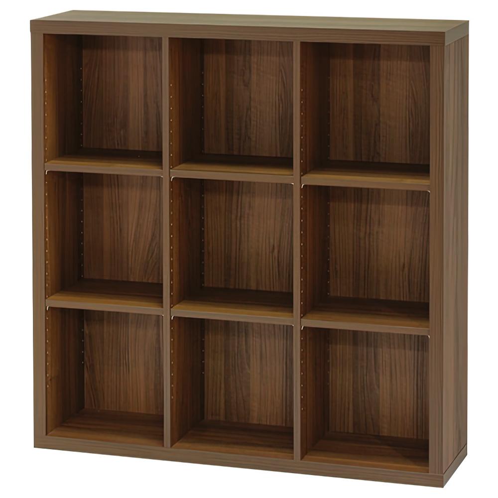 木製3列3段フリーラック SEPシリーズ W1100×D283×H1134mm 書棚 本棚 木製収納棚 ダーク オープンラック オフィス家具