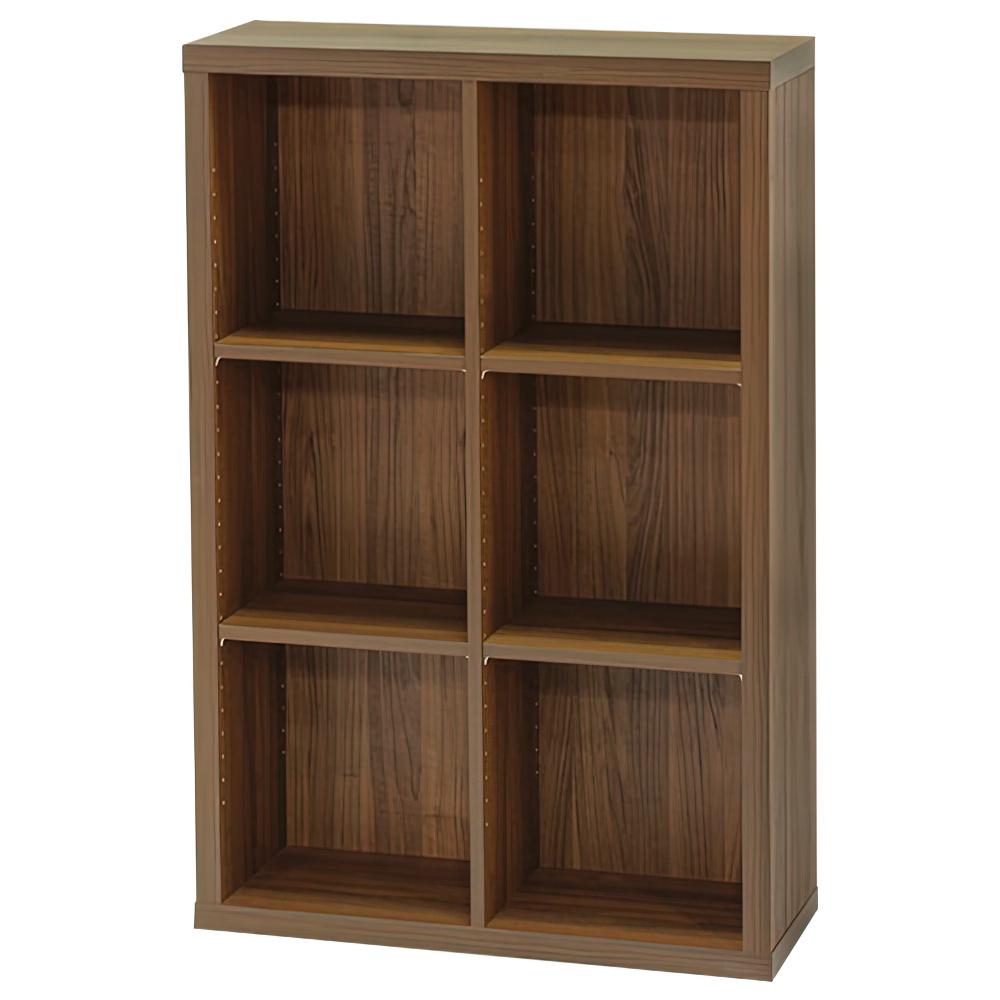 木製2列3段フリーラック SEPシリーズ W752×D283×H1134mm 書棚 本棚 木製収納棚 ダーク オープンラック オフィス家具