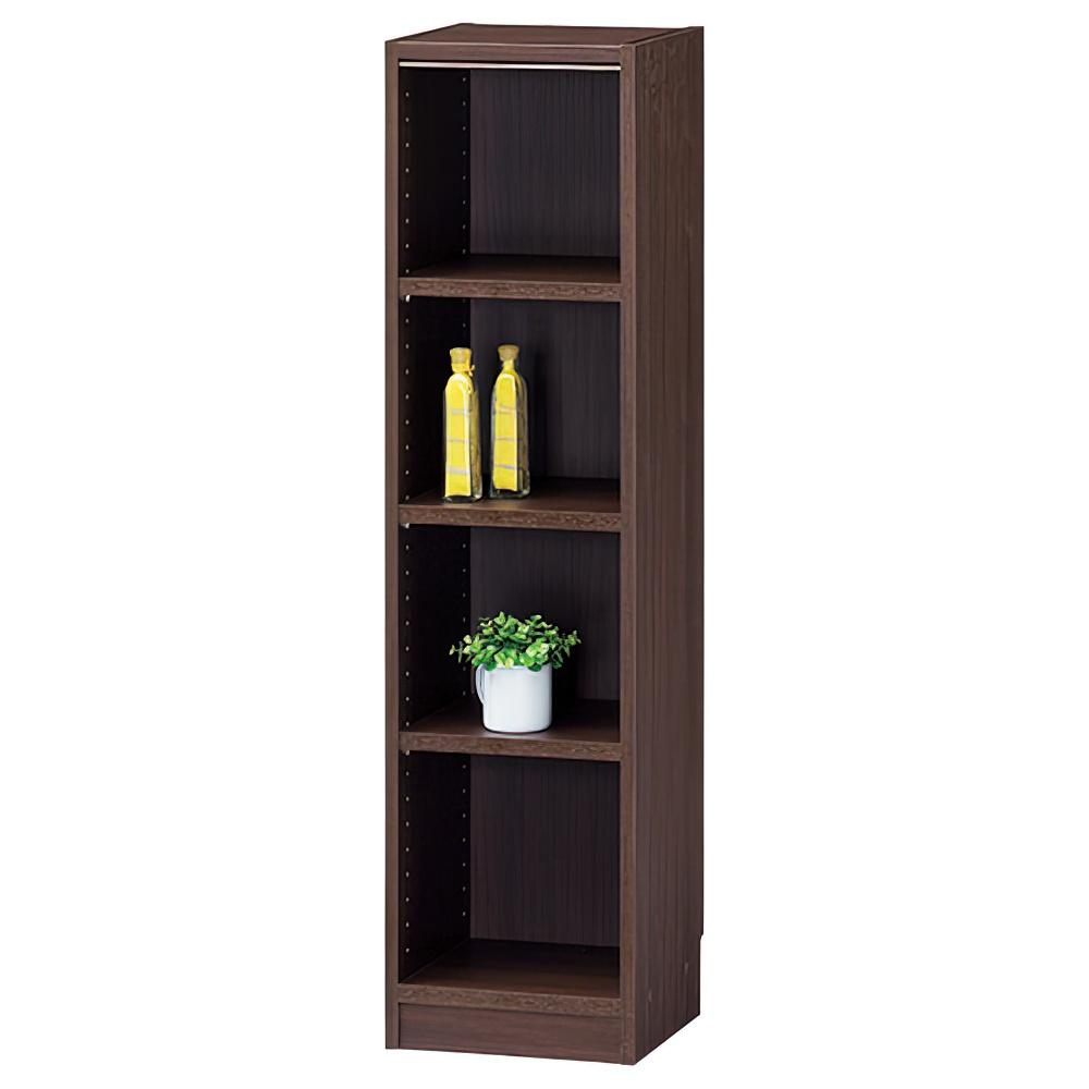 木製1列4段フリーラック TNLシリーズ W310×D290×H1200mm 書棚 本棚 木製収納棚 ダーク オープンラック オフィス家具