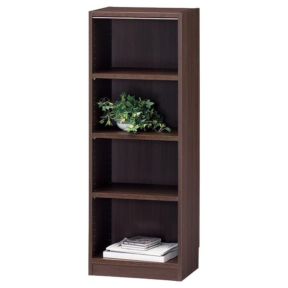 木製1列4段フリーラック TNLシリーズ W440×D290×H1200mm 書棚 本棚 木製収納棚 ダーク オープンラック オフィス家具