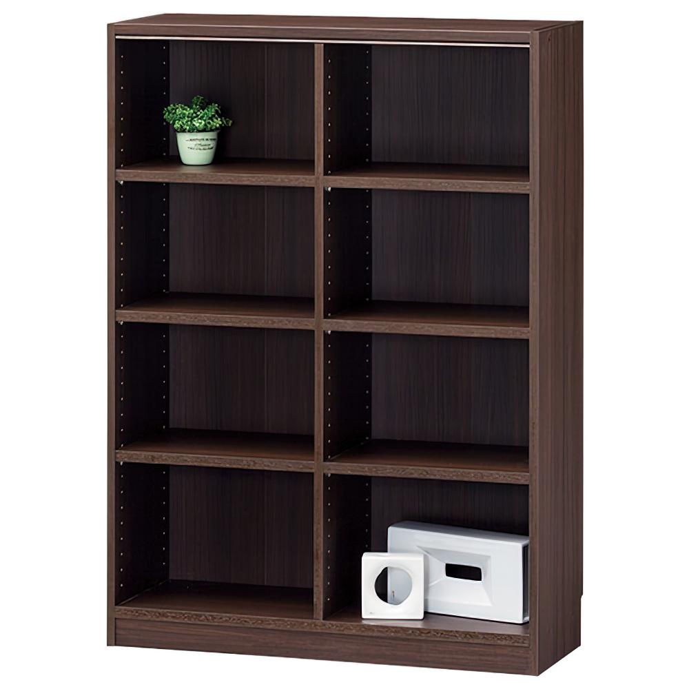 木製1列4段フリーラック TNLシリーズ W870×D290×H1200mm 書棚 本棚 木製収納棚 ダーク オープンラック オフィス家具