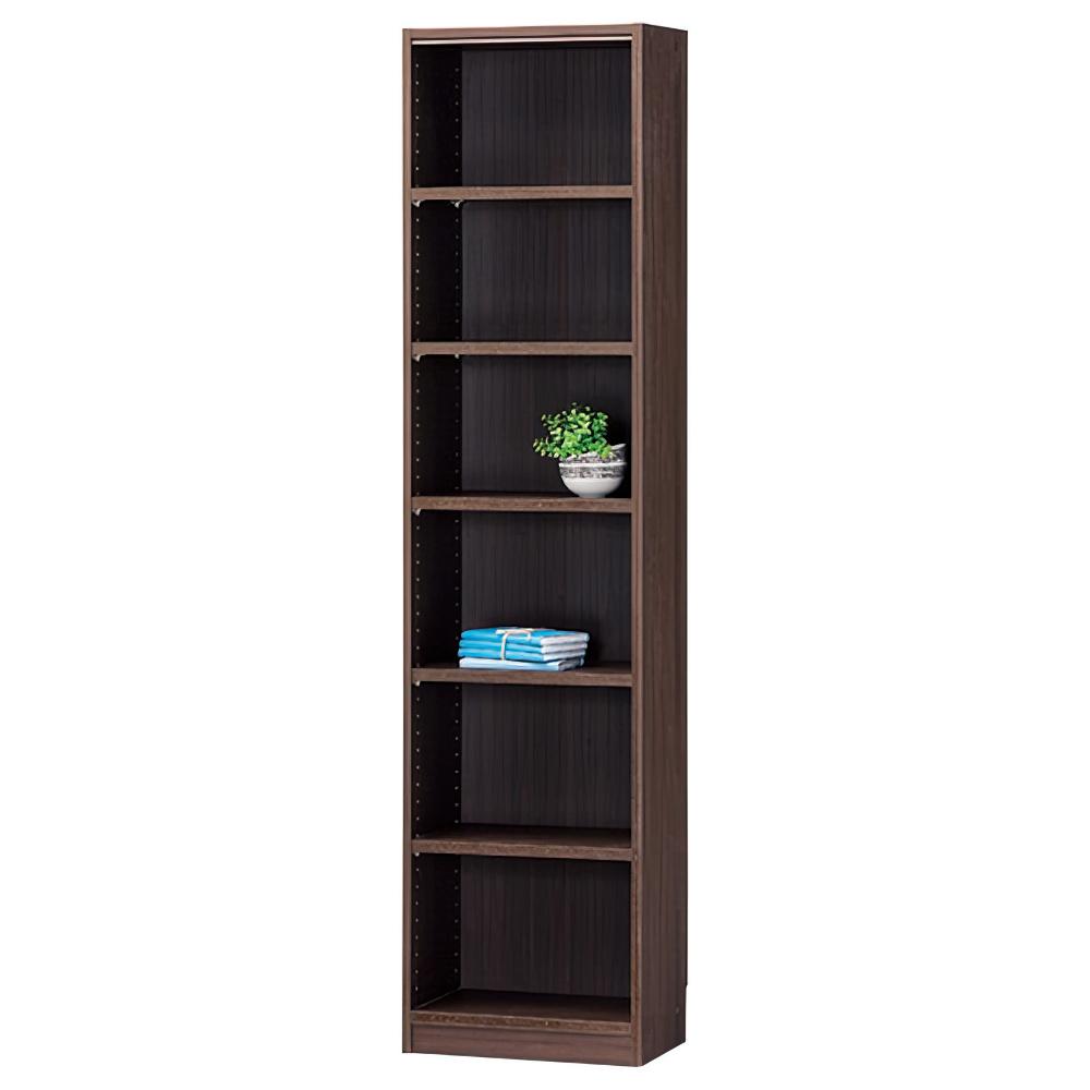 木製1列6段フリーラック TNLシリーズ W440×D290×H1800mm 書棚 本棚 木製収納棚 ダーク オープンラック オフィス家具