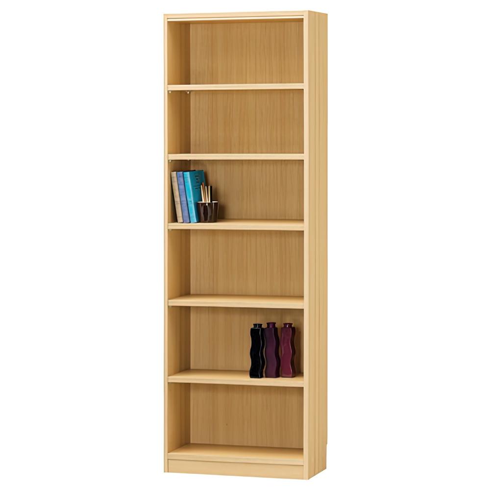 木製1列6段フリーラック TNLシリーズ W590×D290×H1800mm 書棚 本棚 木製収納棚 ナチュラル オープンラック オフィス家具