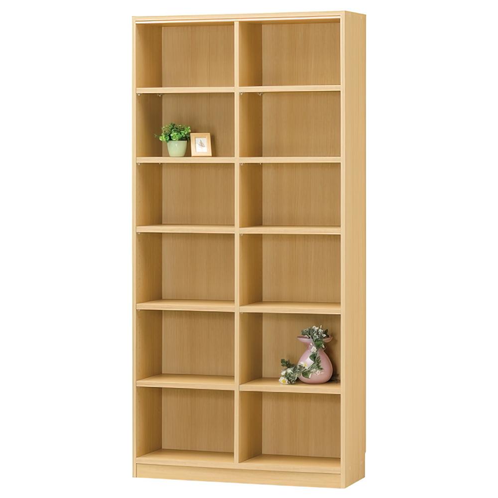 木製2列6段フリーラック TNLシリーズ W870×D290×H1800mm 書棚 本棚 木製収納棚 ナチュラル オープンラック オフィス家具