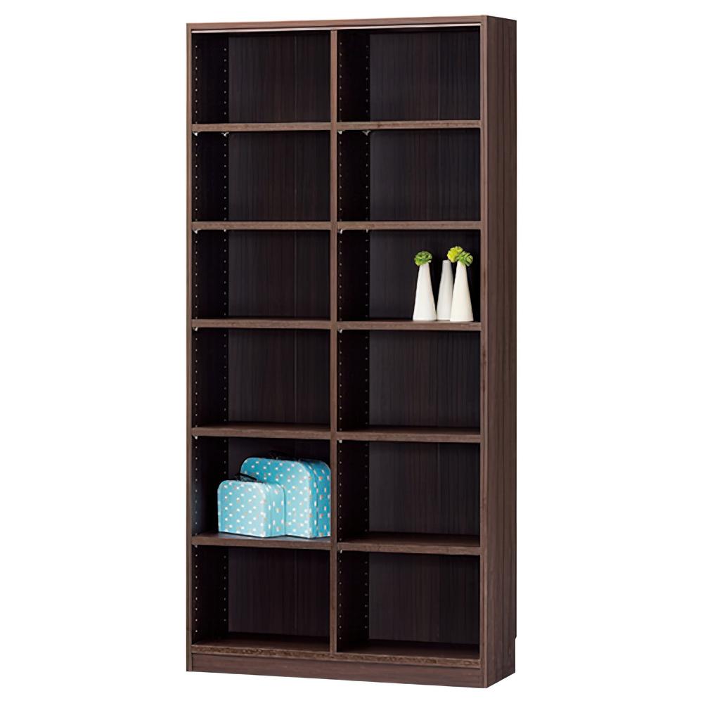 木製2列6段フリーラック TNLシリーズ W870×D290×H1800mm 書棚 本棚 木製収納棚 ダーク オープンラック オフィス家具
