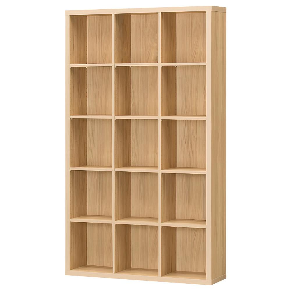 木製3列5段フリーラック SEPシリーズ W1100×D283×H1854mm 書棚 本棚 木製収納棚 ナチュラル オープンラック オフィス家具