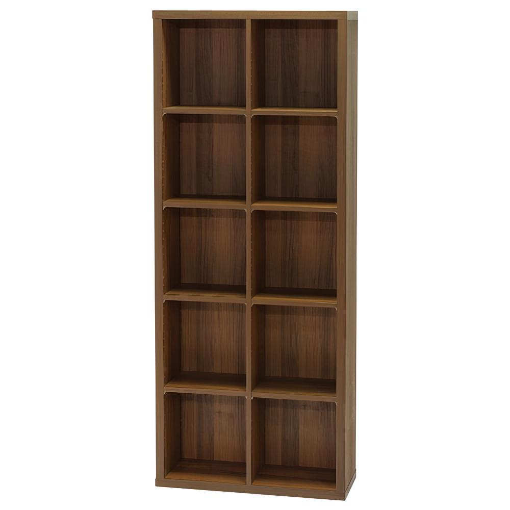 木製2列5段フリーラック SEPシリーズ W752×D283×H1854mm 書棚 本棚 木製収納棚 ダーク オープンラック オフィス家具