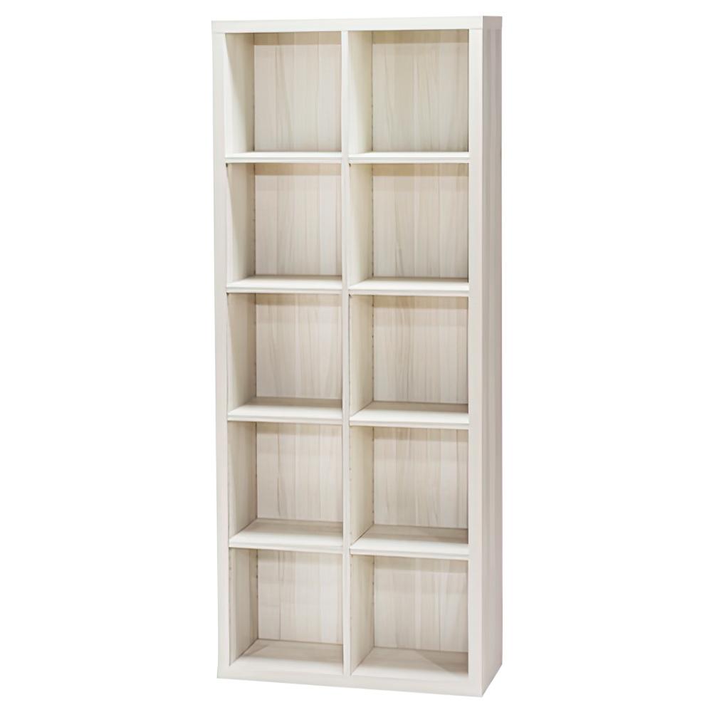 木製2列5段フリーラック SEPシリーズ W752×D283×H1854mm 書棚 本棚 木製収納棚 アイボリー オープンラック オフィス家具
