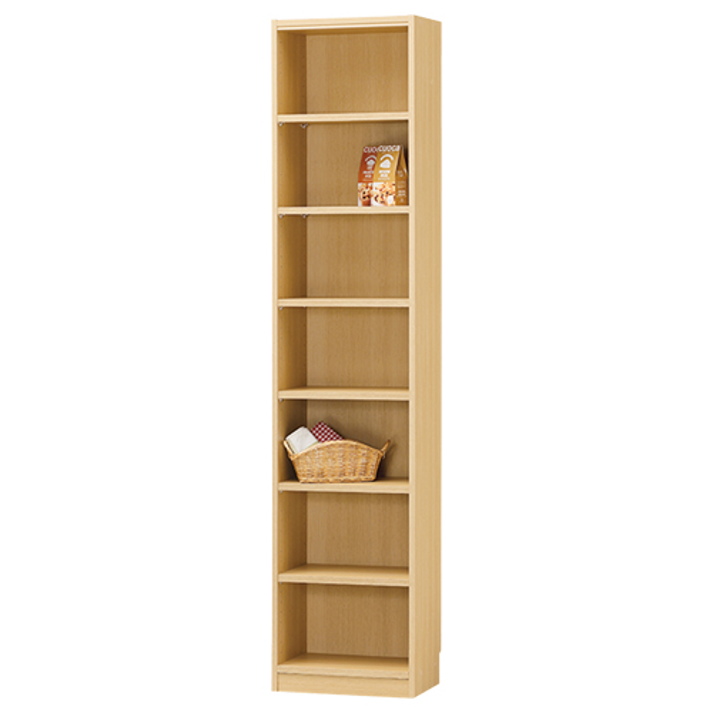 木製1列7段フリーラック TNLシリーズ W440×D290×H1980mm 書棚 本棚 木製収納棚 ナチュラル オープンラック オフィス家具