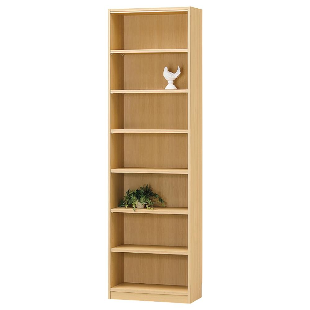 木製1列7段フリーラック TNLシリーズ W590×D290×H1980mm 書棚 本棚 木製収納棚 ナチュラル オープンラック オフィス家具
