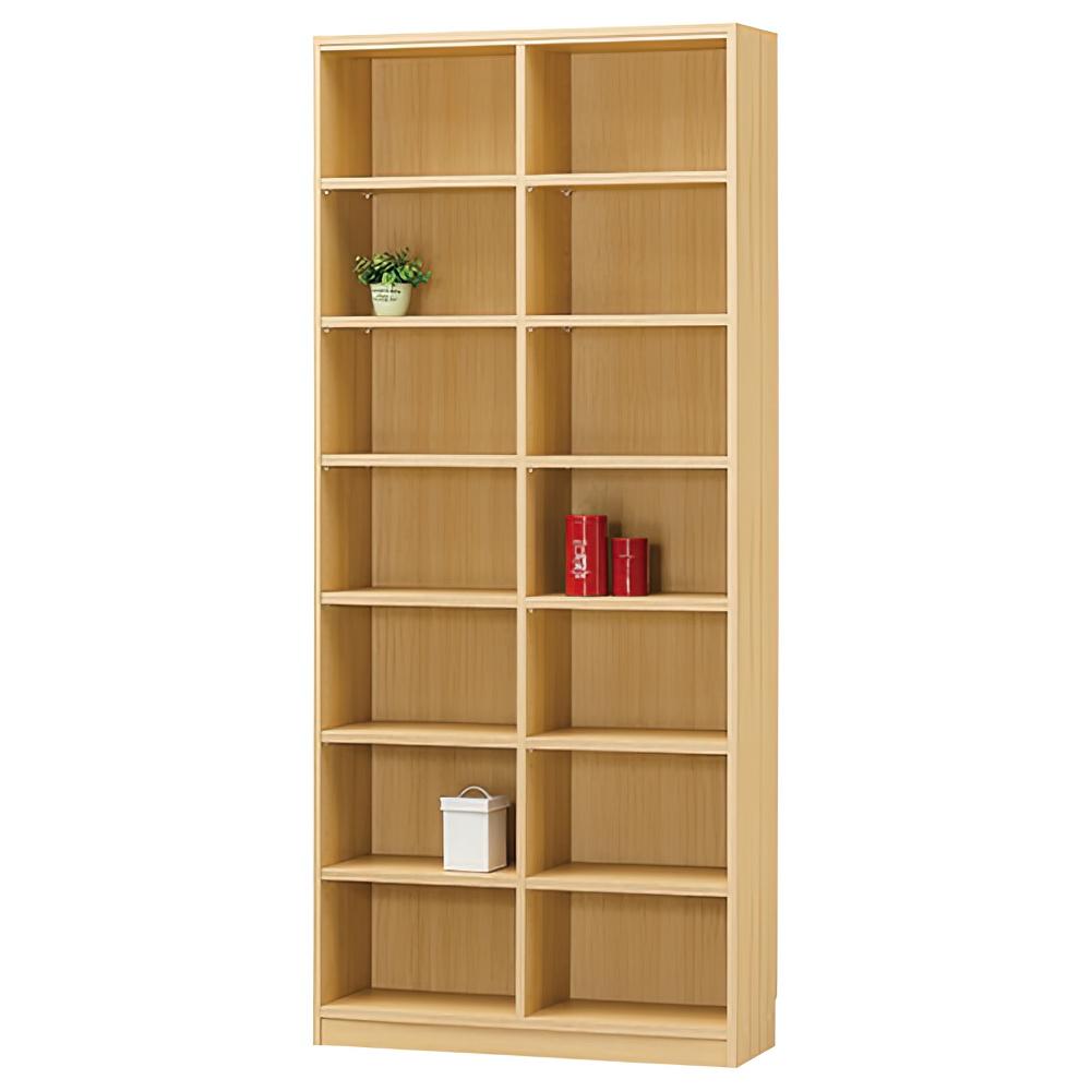 木製2列7段フリーラック TNLシリーズ W870×D290×H1980mm 書棚 本棚 木製収納棚 ナチュラル オープンラック オフィス家具