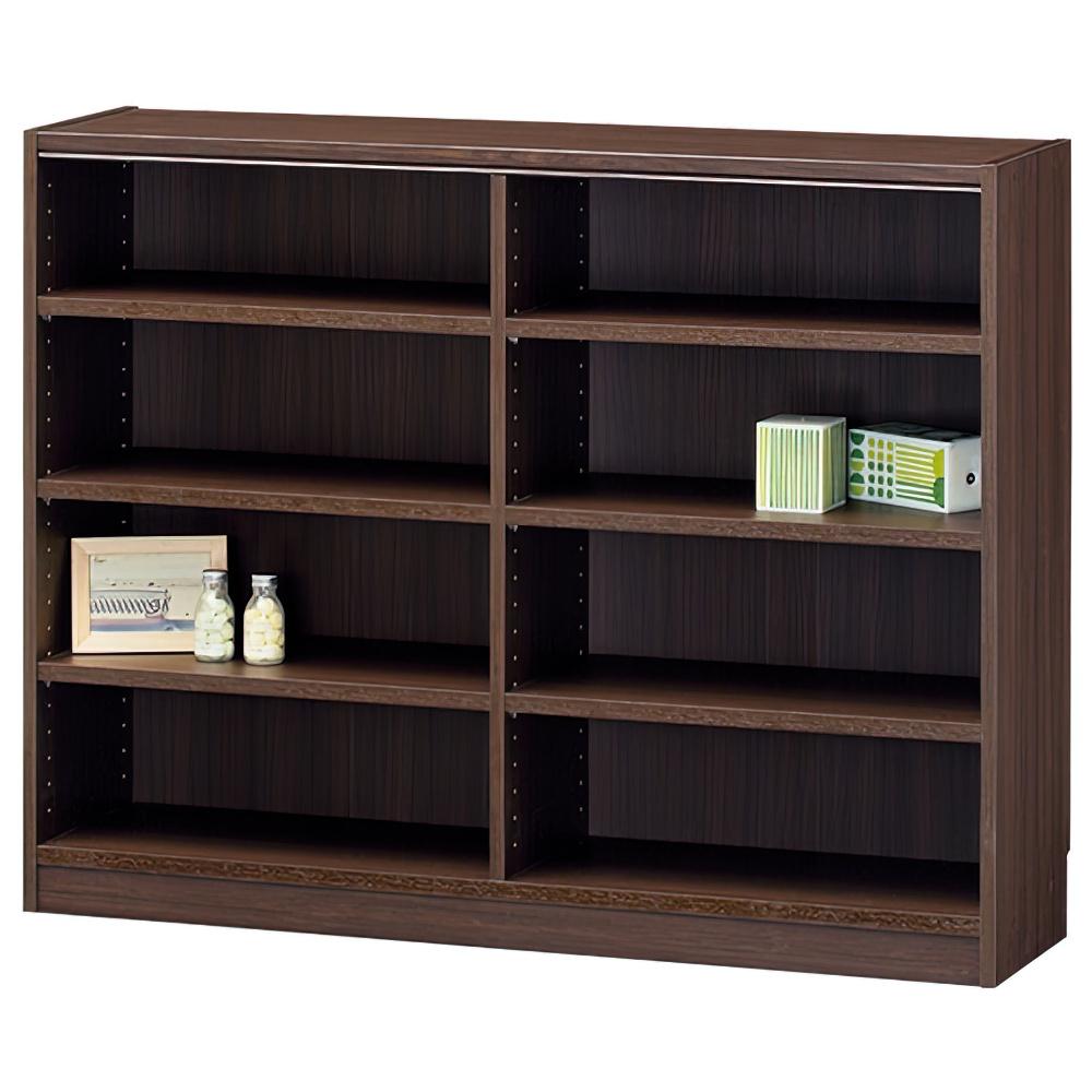 木製2列4段フリーラック TNLシリーズ W1170×D290×H900mm 書棚 本棚 木製収納棚 ダーク オープンラック オフィス家具
